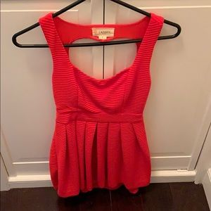 Red, heart-shaped open back L'atiste minidress